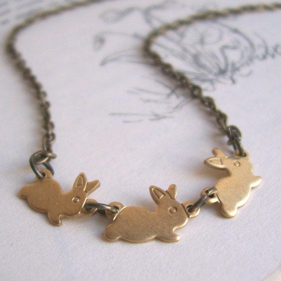 Running Rabbits necklace - gold bunny charms - handmade