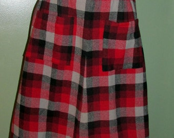 1960's Skirt Red Black Grey Wool Plaid with Front Pockets Waist 24""