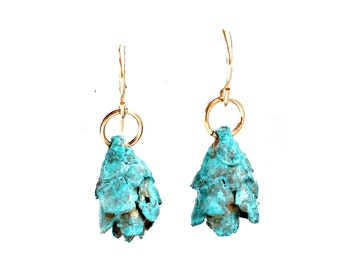 Tiny Blue Pine Cone Earrings
