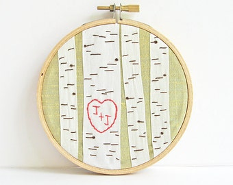 Personalized initials ring holder, anniversary gift, embroidered hoop, silk ribbon birch trees ring pillow, wedding gift