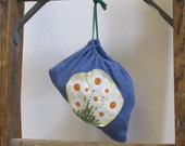 Blue and Daises Drawstring Pouch
