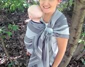 Linen Blend Wrap Conversion Ring Sling Baby Carrier - Little Frog Linen Baryte- Pleated or Gathered Shoulder - DVD baby shower gift