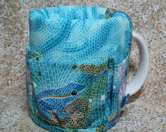 Coffee Caddy Desk Sewing Organizer Cozy For Mug or Goblet Mosaic Frog Dragonfly Crap Caddy