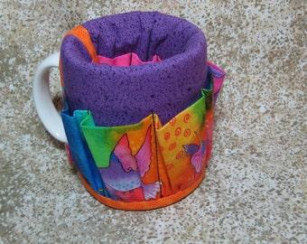 Coffee Caddy Desk Sewing Organizer Cozy For Mug or Goblet Hummingbird Purple Orange Pink Burch Crap Caddy