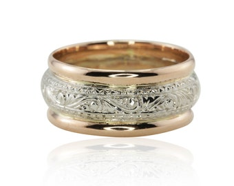 Intricately Hand Engraved Man's Wedding Band in 14kt White Gold with 14kt Rose Gold Edges - LS2232