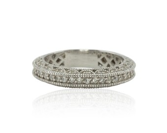 Diamond Ring, Diamond Wedding Band - Milgrain, Pave, Lacey Beauty - LS703