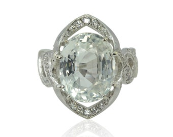 White Sapphire Engagement Ring, 10 carat Oval White Sapphire Statement Ring, Rare 10 carat White Sapphire Ring - LS3888