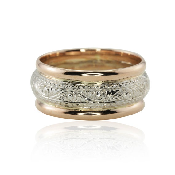 Man S Hand Bands: Intricately Hand Engraved Man's Wedding Band In 14kt White
