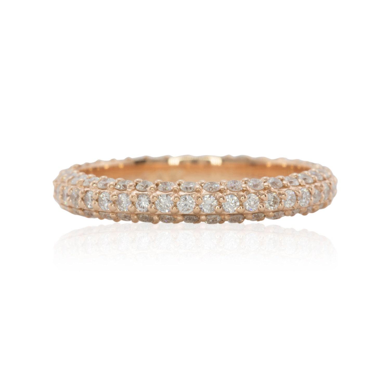 Diamond Wedding Band Rose Gold Micro Pave Diamond Stacking
