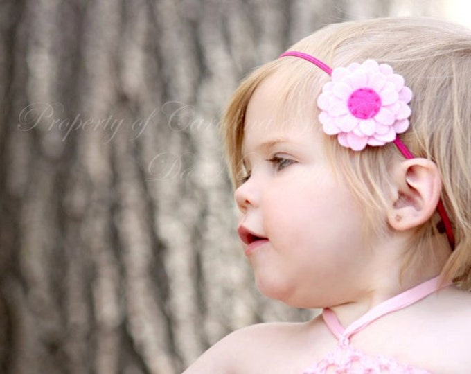 Pink Daisy Felt Flower Headband ~ Infant Headband - Newborn Headband - Toddler Headband ~ Baby Girl Headband