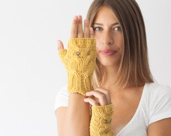 Hand knit owl fingerless gloves in mustard yellow,wrist warmers,texting gloves,mitts,knit fingerless gloves,womens gloves