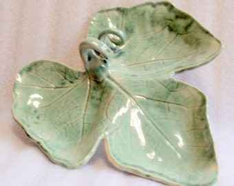 Large Pottery Leaf Serving Platter or Antipasto Plate in Iridescent Green