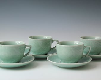 Set of 4 vintage celadon seagreen CUP & SAUCER tea set Zhong Guo Longquan Chinese porcelain EXCELLENT Condition