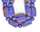 Venetian Glass Murano Blue Foil Art  Bead Necklace Italy Vintage
