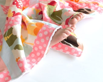 Patchwork Baby Girl Blanket, Oh Deer by Momo Patchwork Quilt with Minky
