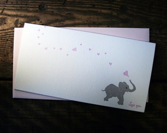 Letterpress Printed Baby Elephant Loves You Card - Single