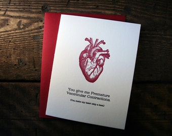 Letterpress Printed Ventricular Contractions Heart Card - single