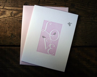 Letterpress Printed Love Letters Card - Single