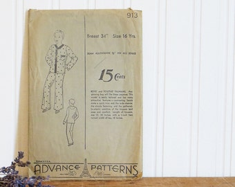 Boys Pajama Pattern Size 12 Teen Advance 913 1940s Vintage Sewing Supplies