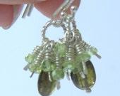 Olive Green Tourmaline Peridot Sterling Silver Cluster Drop Earrings