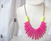 Boho Bright Pink Howlite Spike Chain Necklace with Neon Yellow Pop