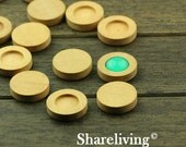 10pcs 12mm Wooden Cameo Setting / Tray, Round
