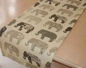 """Grey Elephants Table Runner 72"""" Gray Charcoal Taupe Beige Elephant 6ft 180cm Coffee Piano Topper Decorative"""