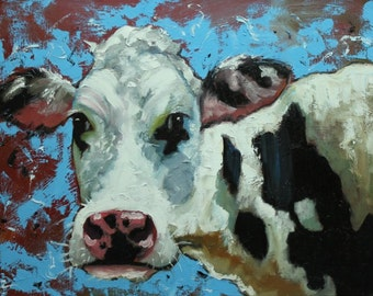 Cow painting 1007 18x24 inch animal original oil painting by Roz