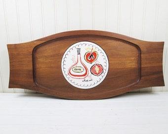 Vintage Teak Wood Cheese Plate Ceramic Tile Trivet Center Serving Tray Platter