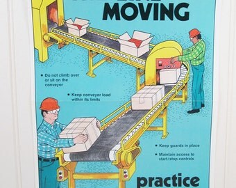 Vintage Safety Poster Work Workplace Keep The Line Moving Assembly Ohio