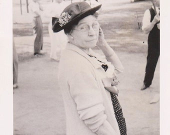 Vintage Photo Older Woman Baseball Game Hat Glasses Antique Photograph 1936 B&W