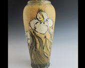 Tall  art pottery vase with white iris wheel thrown