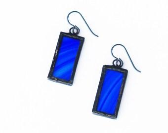 Blue Earrings- Glass Earrings- Artistic Earrings- Girlfriend Gift- Gift for Her- Glass Jewelry- Royal Blue Earrings- Blue Glass Earrings