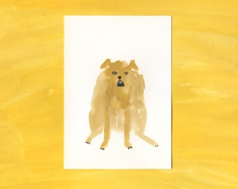 100 Hideous Hounds - No. 10 - Original Gouache dog painting