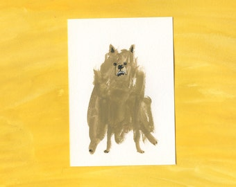 100 Hideous Hounds - No. 11 - Original Gouache dog painting