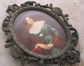 Small Brass Frame, 1950s, Italian frame, Vintage, Baroque metal frame, brass photo frame, metal picture frame, oval frame, rustic