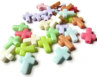40 Mixed Color Crosses Multicolor Beads 17mm Cross Beads Mixed Color Plastic Cross Beads Christian Beads Beading Supplies Jewelry Supplies