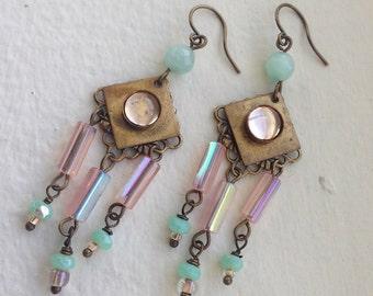 Art Deco-Inspired Vintage Miami Chandelier Earrings pastel pink green vintage brass glass beads
