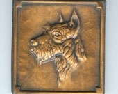 Vintage Collectible Dog Schnauzer Copper Art Wall Hanging