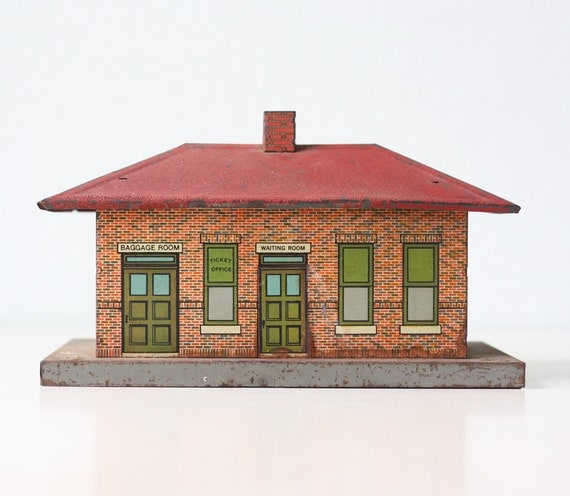 vintage train station american flyer ticket office by