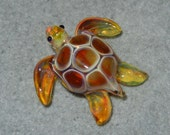 Lampwork Boro Glass Pendant - Focal Bead - MINI SEA TURTLE amber