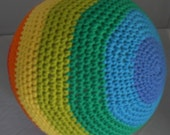 Soft Rainbow Ball Stuffed Indoor Play Ball Toy for Children Crocheted Ball Cotton Yarn Ball