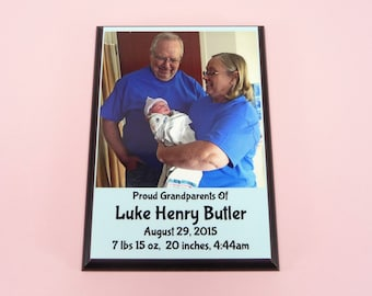 NEW BABY Plaque Proud Grandparents Announcement Photo Girl Boy Custom Name Date Personalized Baby Gift Nursery Decor Grandma Grandpa