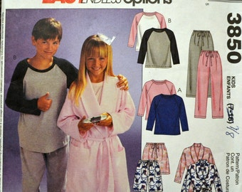 Vintage Sewing Pattern McCall's 3850 Boys' and Girls' Pajamas and Robes Size 7/8 Bust 29 COMPLETE