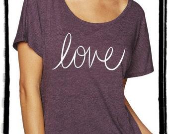 Love Cursive Dolman Tee Loose Slouchy Heathered tshirt shirt