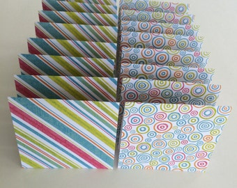 Mini Cards 32 Circle Stripe - blank for thank you notes 3 x 3