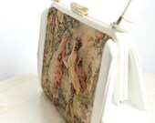 RESERVED FOR LEMMA-Stuffed French Tapestry Hand Bag, White Leather & Fabric, Female-Male Forest Scene