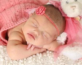 Coral Baby Headband Preemie Headband New Baby Gift Newborn Headband Shabby Chic Headband Preemie Hairbow Baby Girl Headband