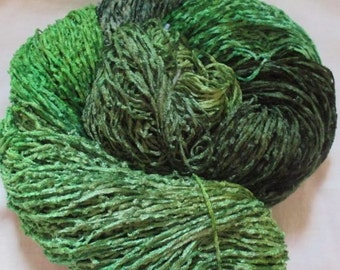 Handpainted Soft Rayon Chenille Yarn   EMERALDS  -  360 yds