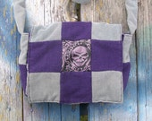 Gray Black Purple Skull Brocade Patchwork Recycled Corduroy Crossbody Purse Long Strap